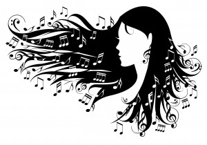 10781731 - woman with music notes in her hair, vector illustration